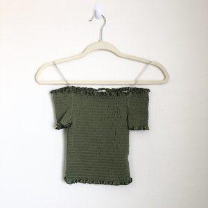 Stella Tweed Green Elastic Off the Shoulder Top
